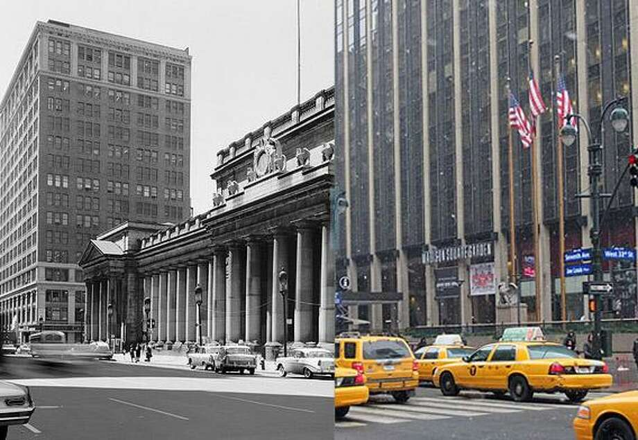 The original Penn Station, completed in 1910, was razed in 1963. Today's Penn Station is entirely underground. Photo credit: Before courtesy of Historic American Buildings Survey at the Library of Congress, Cervin Robinson; After by Jason Fields / DFM
