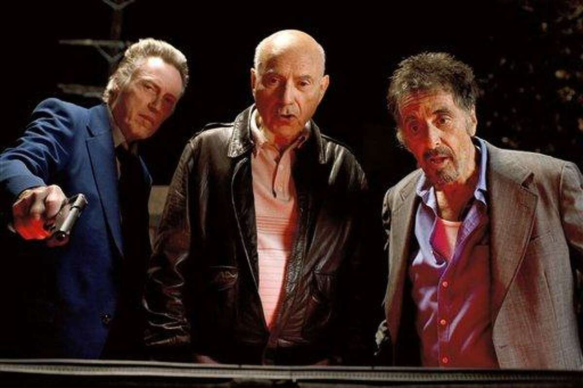 This film image released by Roadside Attractions shows, from left, Christopher Walken as Doc, Alan Arkin as Hirsch, and Al Pacino as Val in a scene from