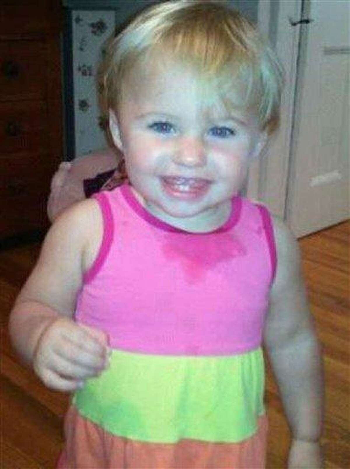This undated file photo obtained from a Facebook page shows missing toddler Ayla Reynolds. Investigators said Sunday that some of the blood found in the Maine home where Ayla was last seen on Dec. 17 belonged to the little girl. Associated Press
