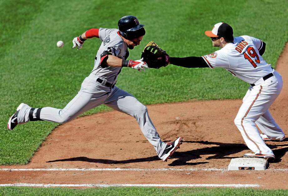 Jacoby Ellsbury, left, runs toward first base as Orioles first baseman Chris Davis reaches for a throw in the fourth inning Sunday. Photo: Patrick Semansky — The Associated Press  / AP