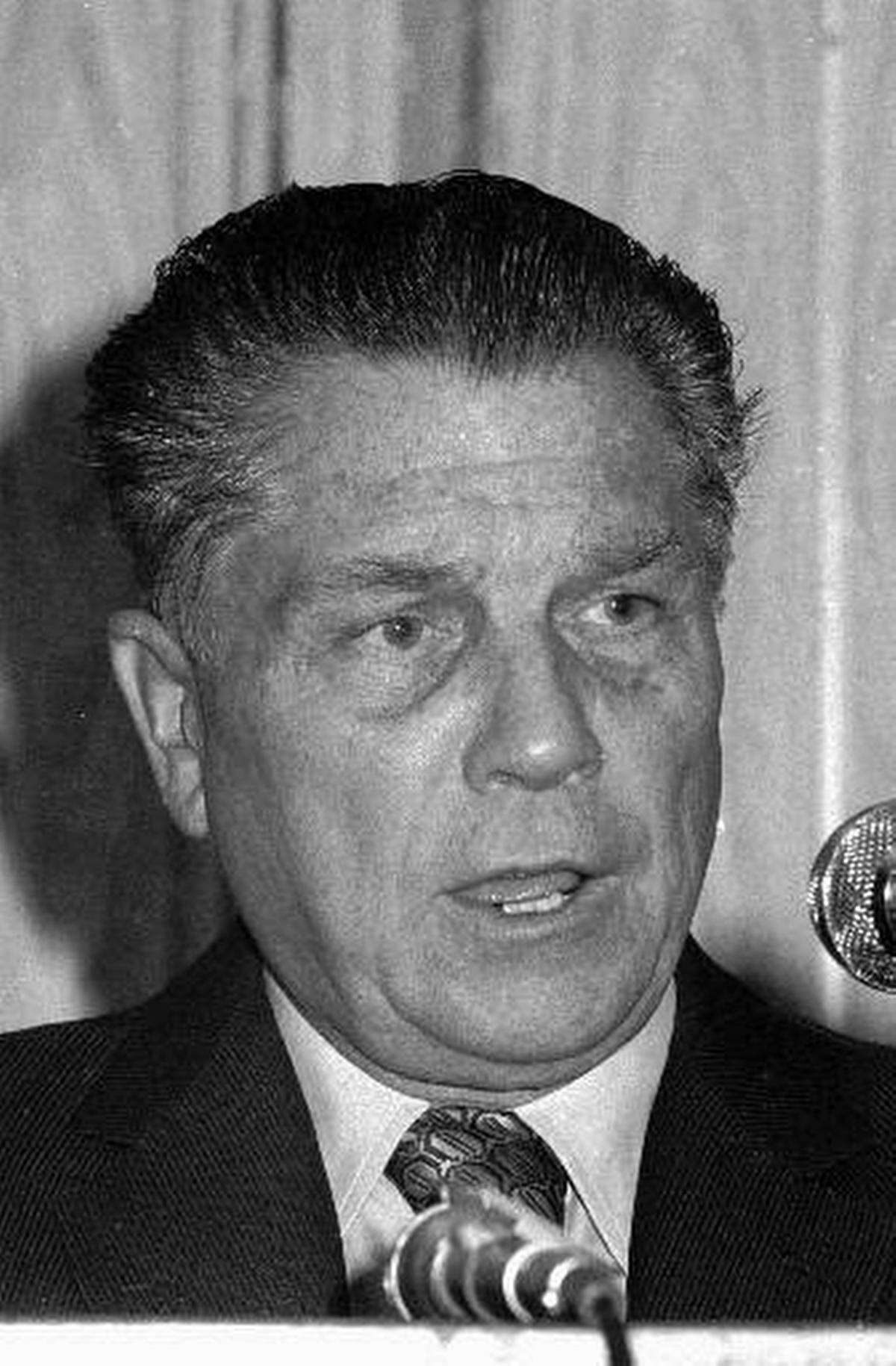 A 1974 photo of Teamsters Union President Jimmy Hoffa, who disappeared in late July 1975. His car was found abandoned in a parking lot in Michigan. (AP photo)