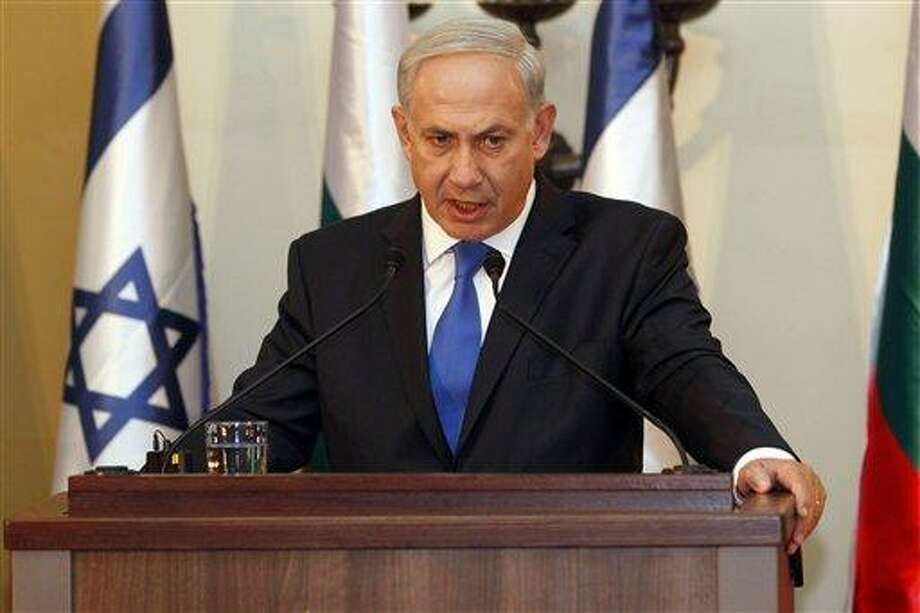 In this Sept. 11 photo, Israeli Prime Minister Benjamin Netanyahu speaks during a joint press conference with his Bulgarian counterpart Boyko Borissov, not seen, in Jerusalem. Israeli Prime Minister Benjamin Netanyahu heads to the United Nations this week with a single item on his agenda: Iran. Netanyahu is convinced the Islamic Republic isn't taking American vows to block it from acquiring nuclear weapons seriously and that time is quickly running out to stop them.(AP Photo/Gali Tibbon, Pool, File) Photo: AP / AFP