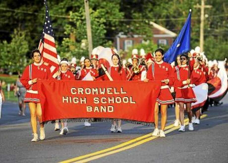 Steve McLauglin/Special to the Press The Cromwell High School Band marches on the parade route Thursday evening.