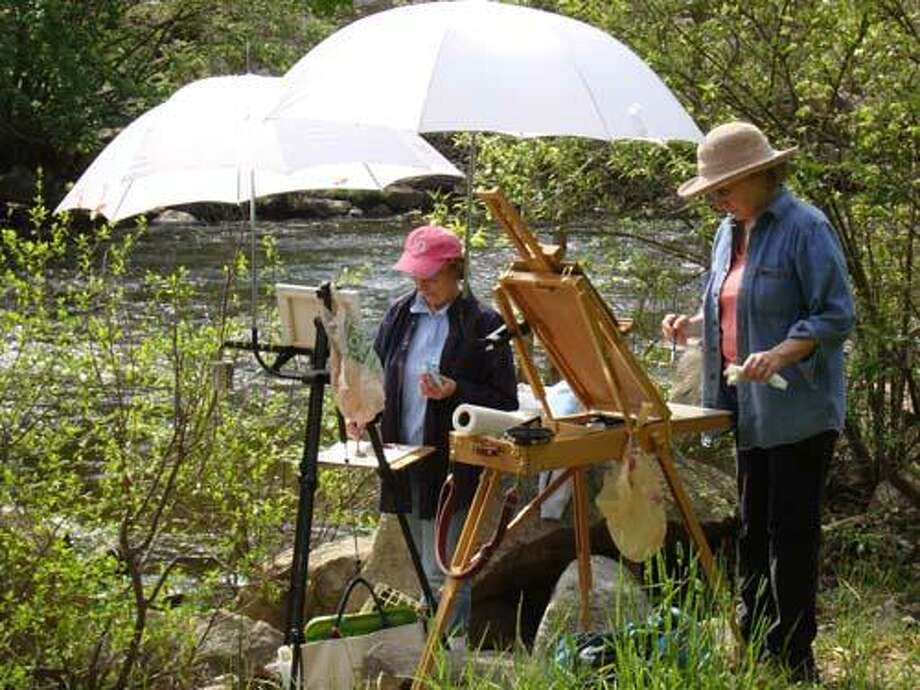 Two East Hampton Art Association members painting at Salmon River (submitted photo)