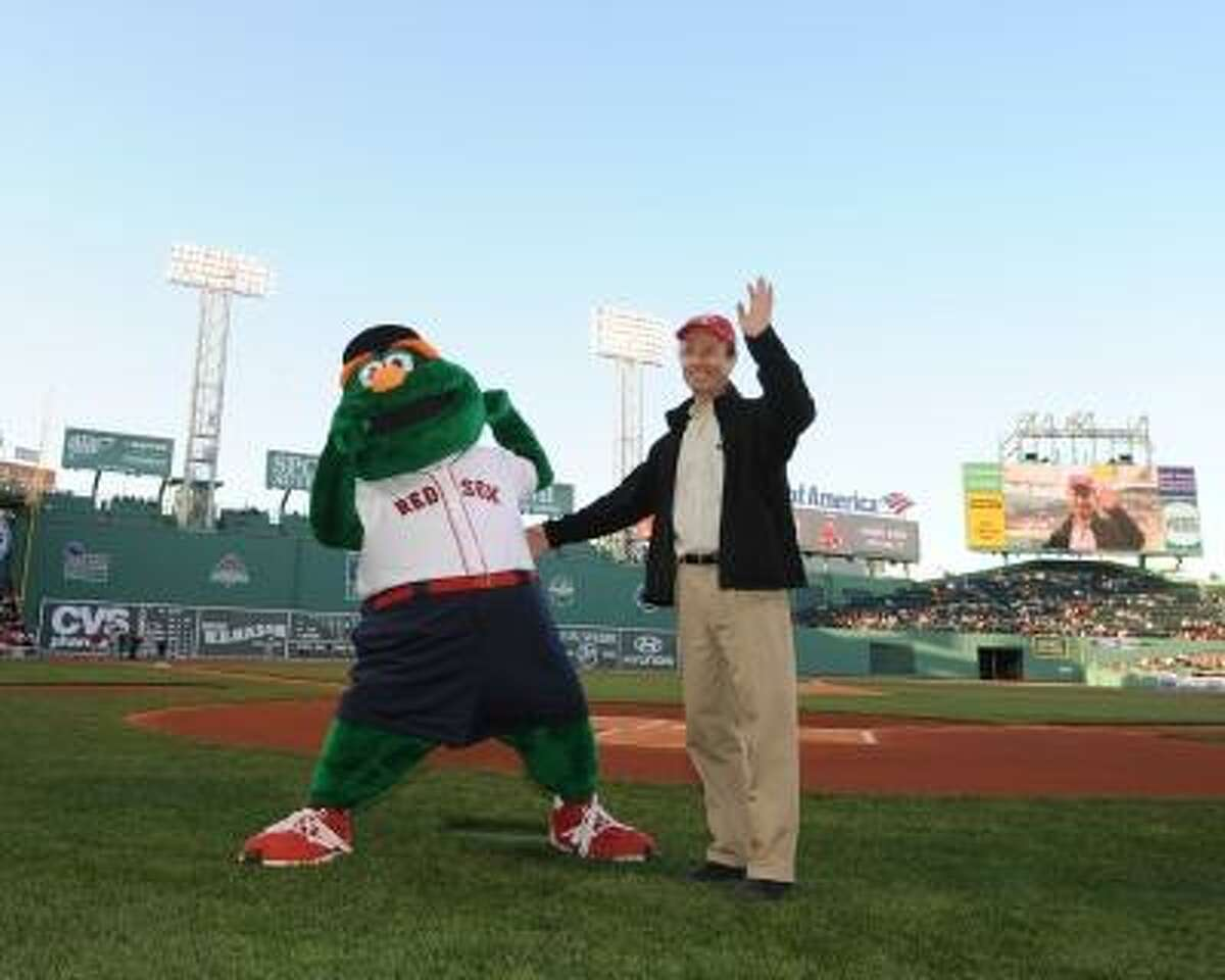 Submitted photo A photo of Daniel Davis on the field at Fenway Park as a 2013 Blood Donor of the Game.