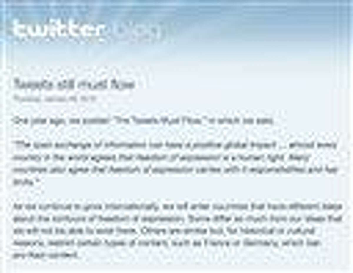 This screen shot shows a portion of the Twitter blog post in which the company announced it has refined its technology so it can censor messages on a country-by-country basis. The additional flexibility is likely to raise fears that Twitter's commitment to free speech may be weakening as the short-messaging company expands into new countries in an attempt to broaden its audience and make more money. But Twitter sees the censorship tool as a way to ensure individual messages, or