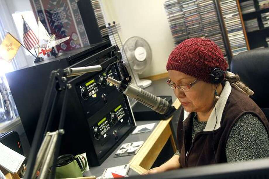 "Jon Austria/The Daily Times KNDN AM 960's Dedra ""Dee"" Wheeler talks on the air on Thursday. Photo: Jon Austria/The Daily Times / The Daily-Times"