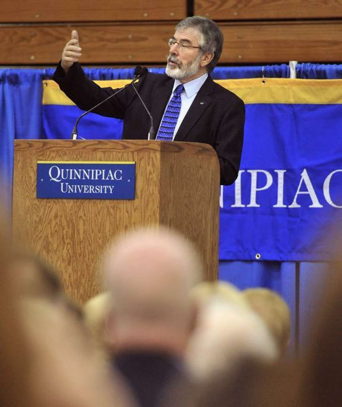 Gerry Adams, president of Sinn Fein, the Irish National Political Party, delivers his lecture to a large crowd at Quinnipiac University. Photo Peter Casolino/New Haven Register