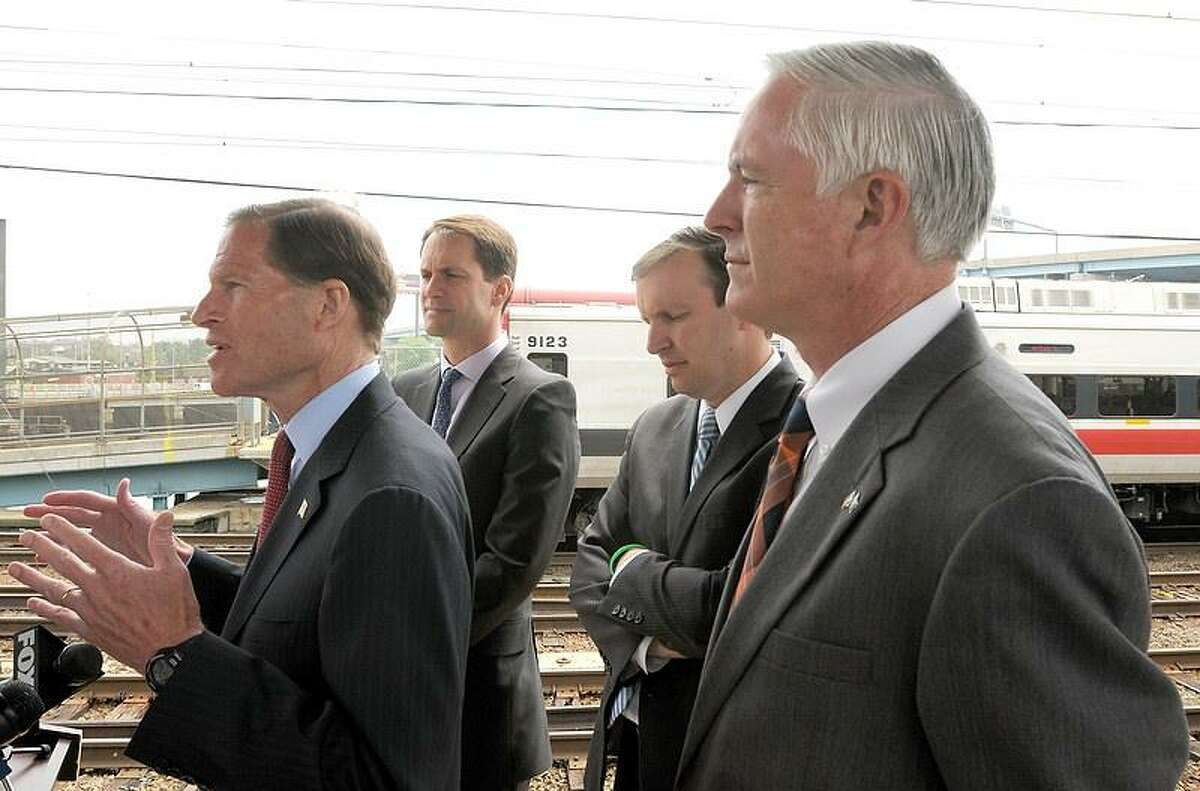 Left to right: U.S. Senator Richard Blumenthal (D-Conn.), Congressman Jim Himes (D-4), Senator Chris Murphy (D-Conn.), and Bridgeport Mayor Bill Finch hold a press conference at the Bridgeport Train Station in Bridgeport Conn. Wednesday May, 29, 2013 to advocate for federal investment in rail safety and reliability. Photo by Peter Hvizdak