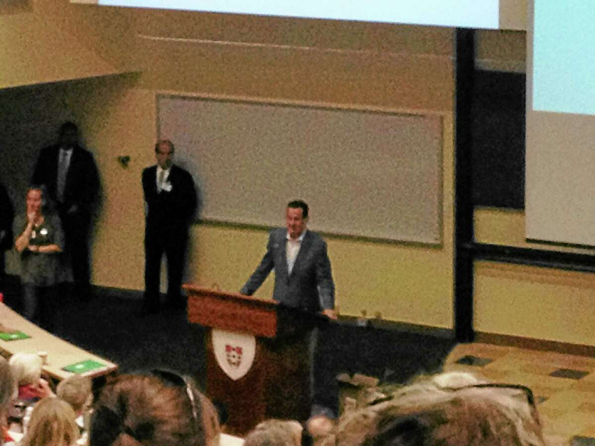 Gov. Dannel P. Malloy addressing the attendants of the conference hosted by CT Against Gun Violence and March for Change at Wesleyan University.