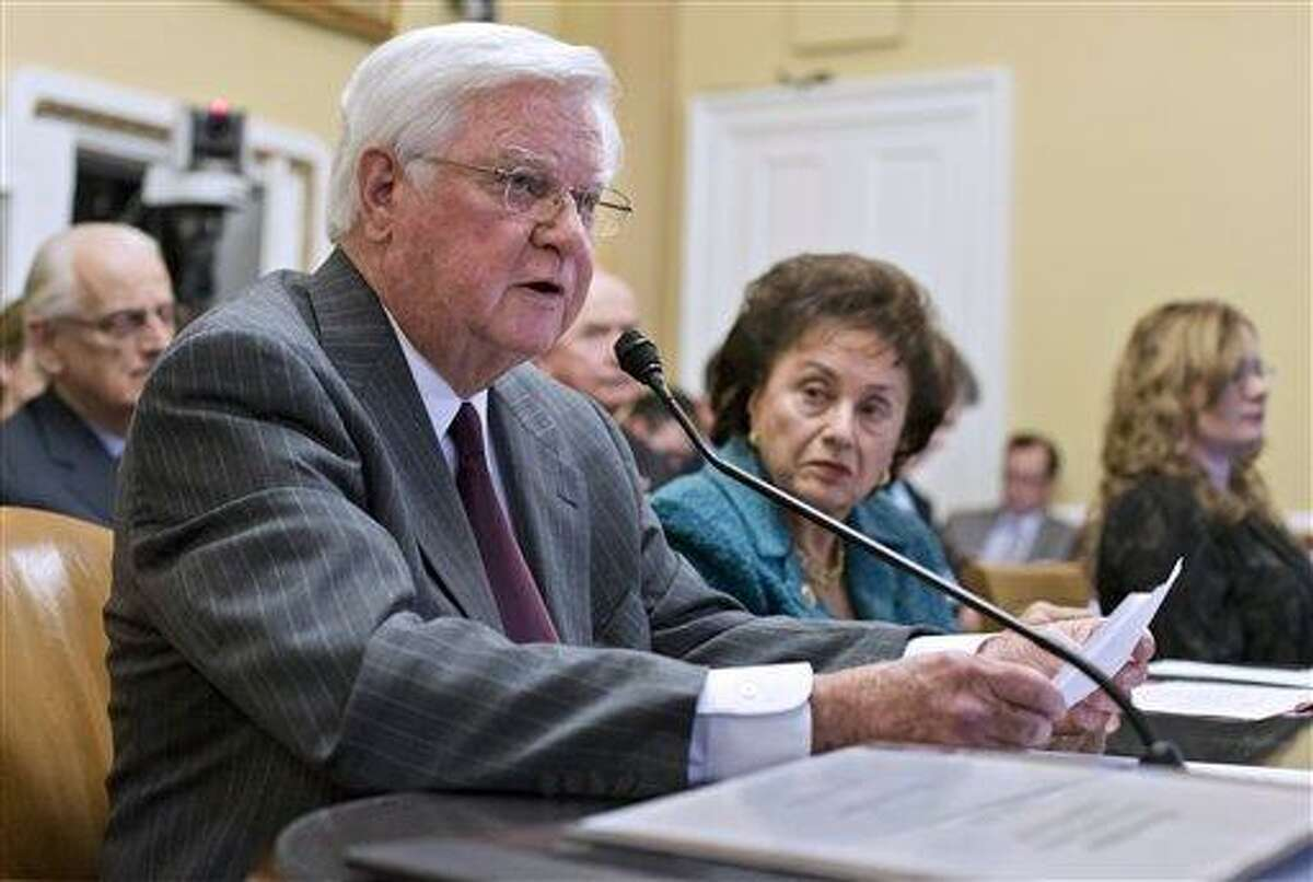 House Appropriations Committee Chairman Rep. Hal Rogers, R-Ky., left, and Rep. Nita Lowey, R-NY, right, testify before the House Rules Committee at the Capitol in Washington, Monday, Jan. 14, 2013. The House Rules Committee has been sifting through dozens of amendments on an aid package to assist victims of Superstorm Sandy that devastated parts of the Northeast coast in October and is expected to vote on the bill Tuesday. (AP Photo/J. Scott Applewhite)