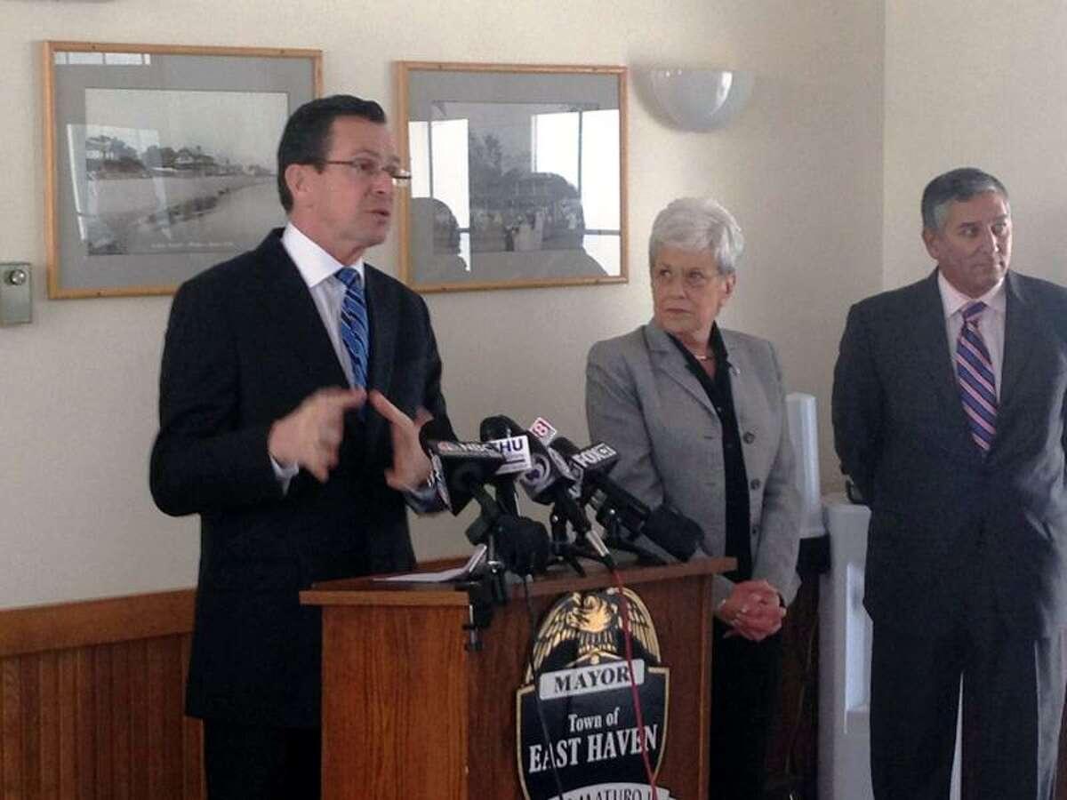 Gov. Dannel P. Malloy in East Haven Monday with Lt. Gov. Nancy Wyman and state Sen. Len Fasano. Joe Amarante/Register