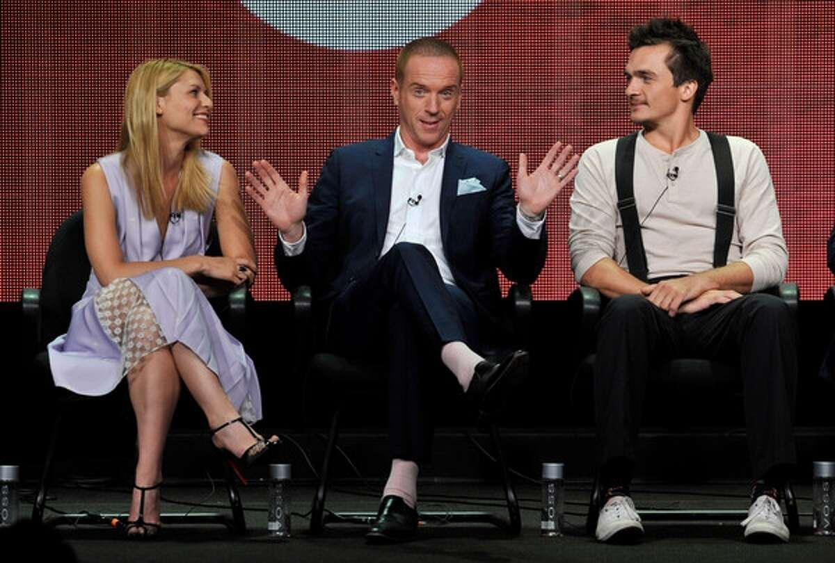 From left, Claire Danes, Damian Lewis and Rupert Friend participate in the