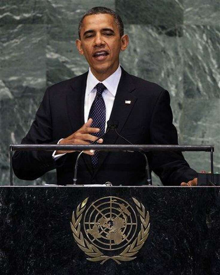 President Barack Obama addresses the 67th session of the General Assembly at United Nations headquarters, Tuesday. Associated Press Photo: AP / AP