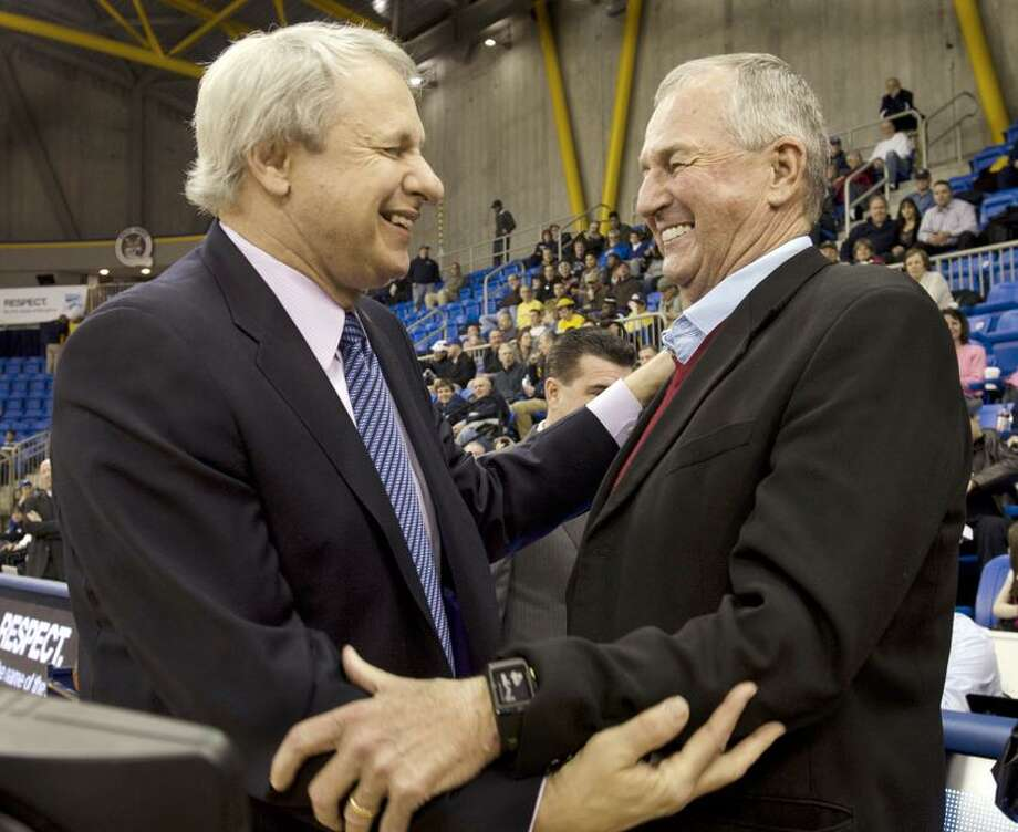 Sports- Coach Howie Dickenman (L) and Joim Clahoun before award ceremony.  Melanie Stengel/Register