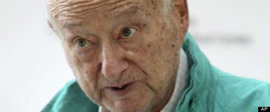 Former New York City Mayor Ed Koch speaks to reporters as he is released from the hospital in New York, Monday, Dec. 10, 2012. He was admitted last week to NewYork-Presbyterian Hospital with pneumonia and the flu. (AP Photo/Seth Wenig) Photo: AP / AP