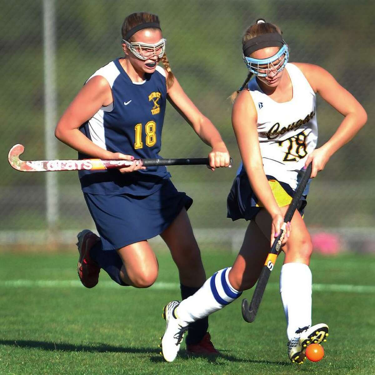 @CAvaloneMP 9.24.12 Mercy's Julliana DellaCamera and Haddam-Killingworth's Kiley Anderson battle for posession Monday afternoon in Higganum. H-K defeated the visiting Tigers 2-0.