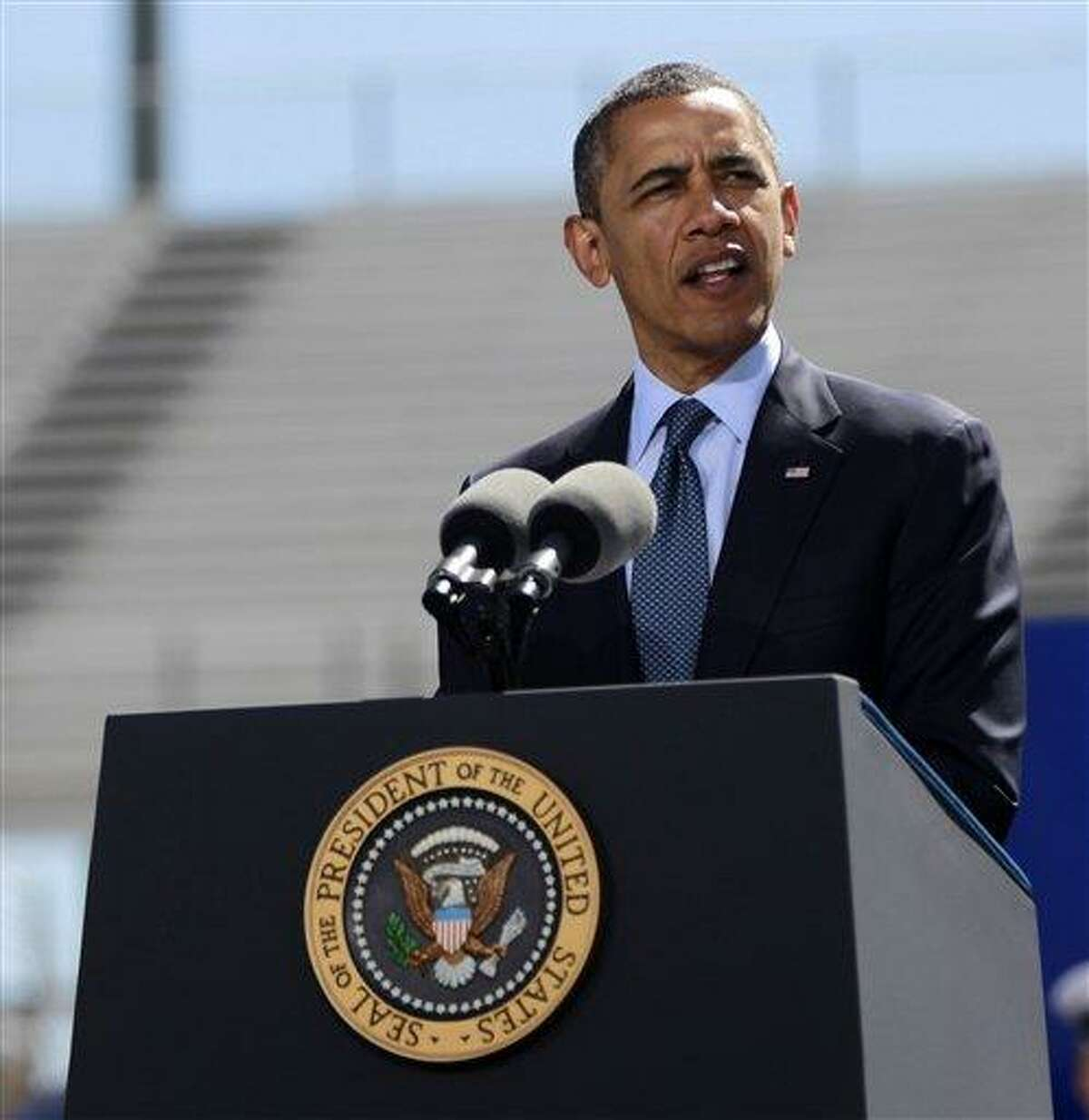 President Barack Obama delivers the commencement address Wednesday at the U.S. Air Force Academy in Colorado Springs, Colo. Associated Press