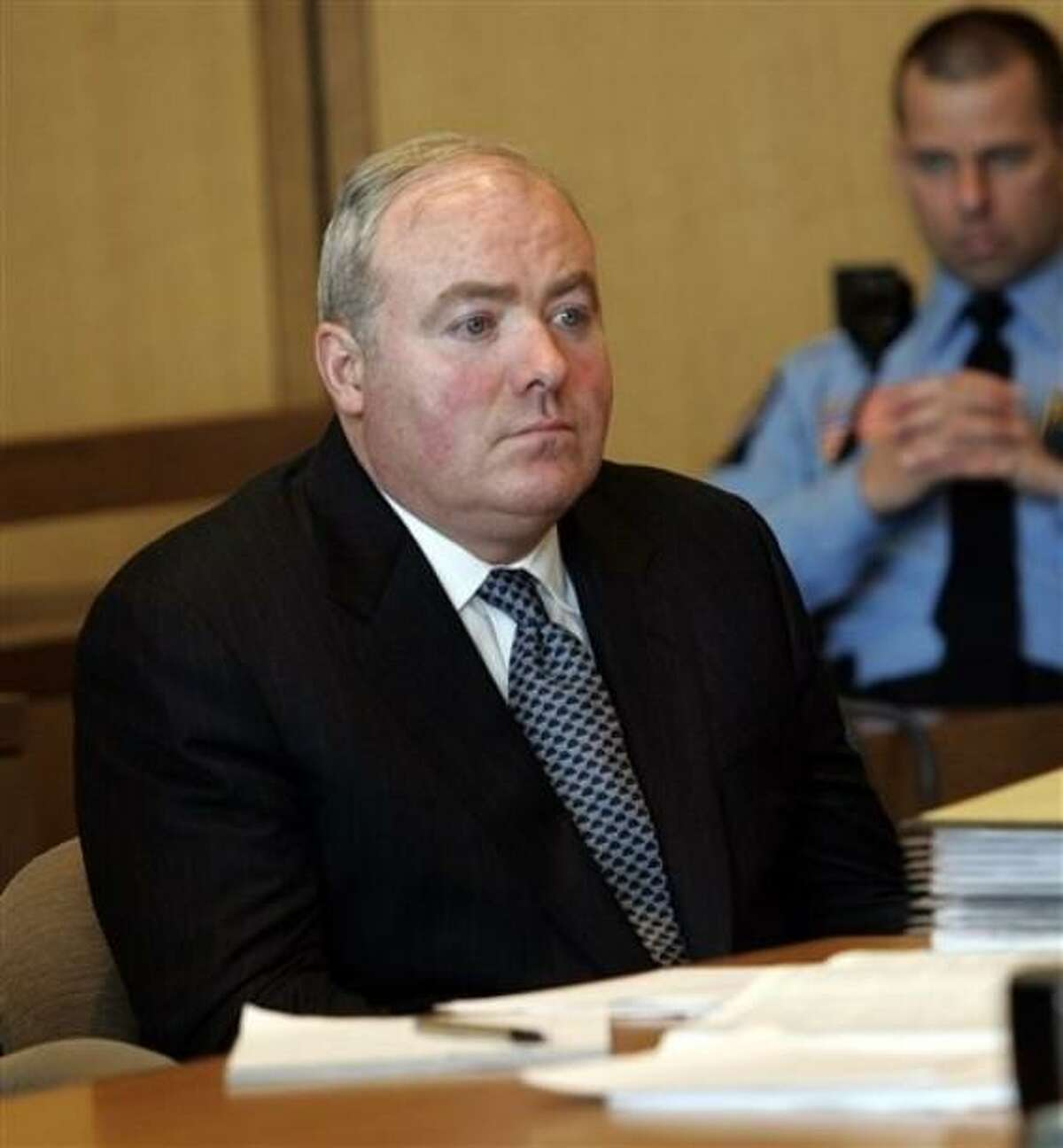 FILE - In this April 17, 2007 file photo, Michael Skakel sits in the courtroom at Superior Court in Stamford, Conn., on the first day of a hearing to determine whether he will get a new trial for the 1975 murder of 15-year-old Martha Moxley. The Connecticut Supreme Court is planning to release its ruling Monday, April 12, 2010, on Skakel's appeal of his conviction in the 1975 slaying. (AP Photo/Bob Child, File)