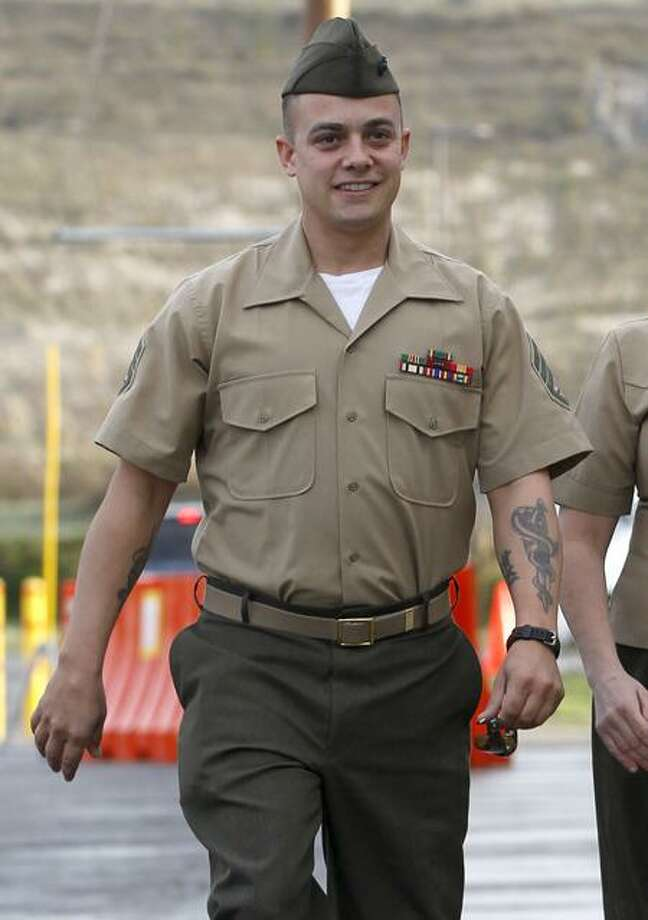Marine Corps Staff Sgt. Frank Wuterich arrives for a court session at Camp Pendleton in Camp Pendleton, Calif., Tuesday. Associated Press Photo: AP / AP2012