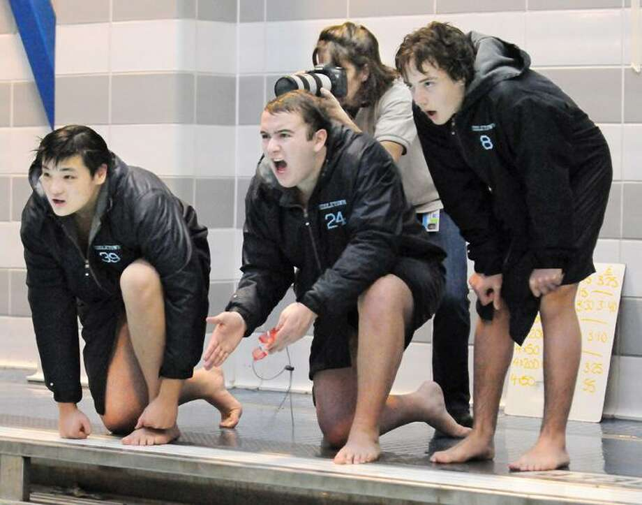Special to the Press   1.24. 12   Middletown senior Jack Winters places first in the 500 freestyle against Bulkeley. Middletown defeated Bulkeley 97-79 Tuesday afternoon. / TheMiddletownPress