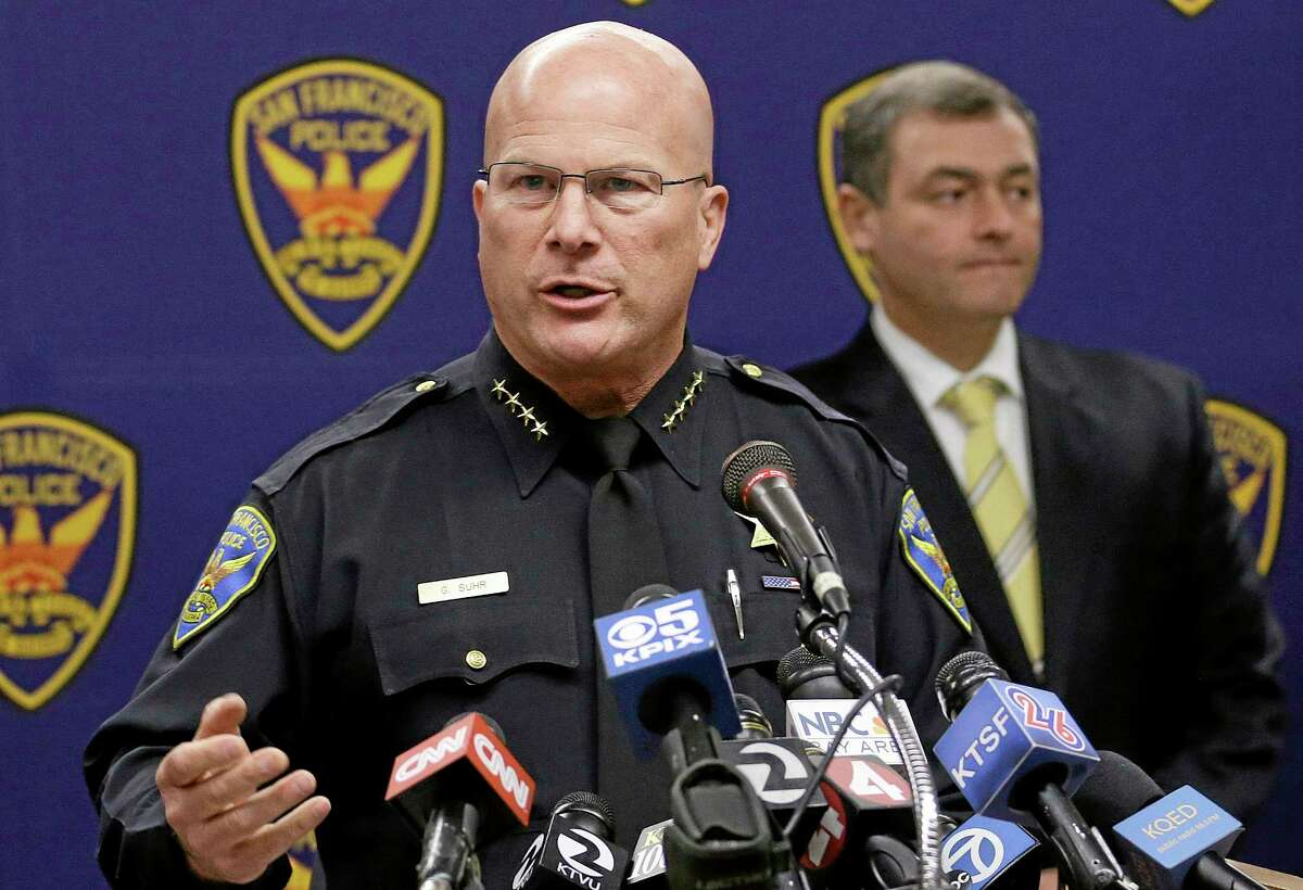 San Francisco Police Chief Greg Suhr speaks at a news conference Thursday in San Francisco. Police arrested two people in the fatal stabbing of a Los Angeles Dodgers baseball fan, Jonathan Winters, during a fight near San Francisco's AT&T Park after the Giants' 6-4 win over the Dodgers, Suhr said.