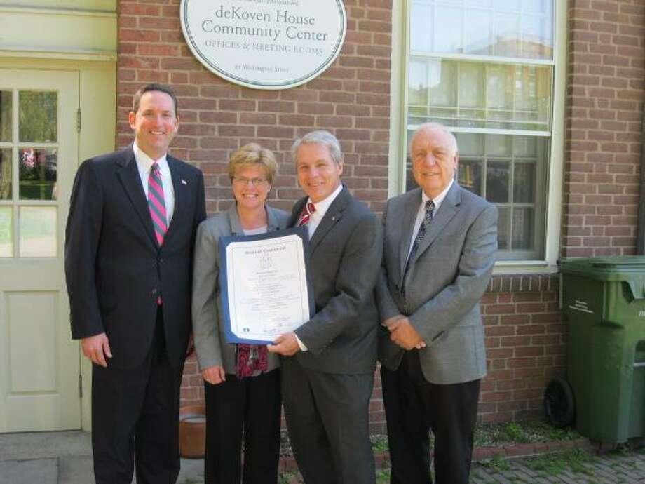 From left to right: Sen. Paul Doyle, Rockfall Foundation Executive Director Claire Rusowicz, Sen. Len Suzio, Rep. Joseph Serra.