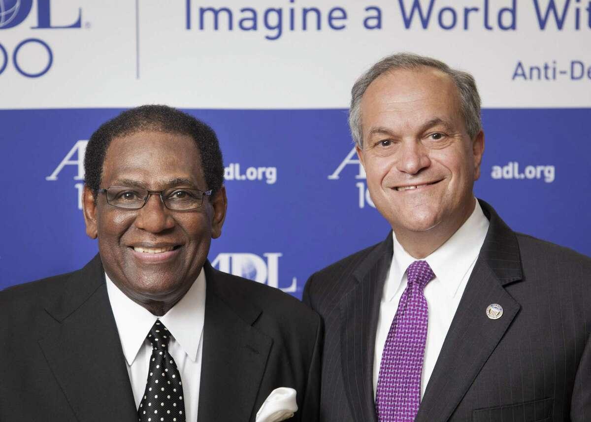 From left, Superintendent of New Haven Schools Reginald Mayo and New Haven Mayor John DeStefano.