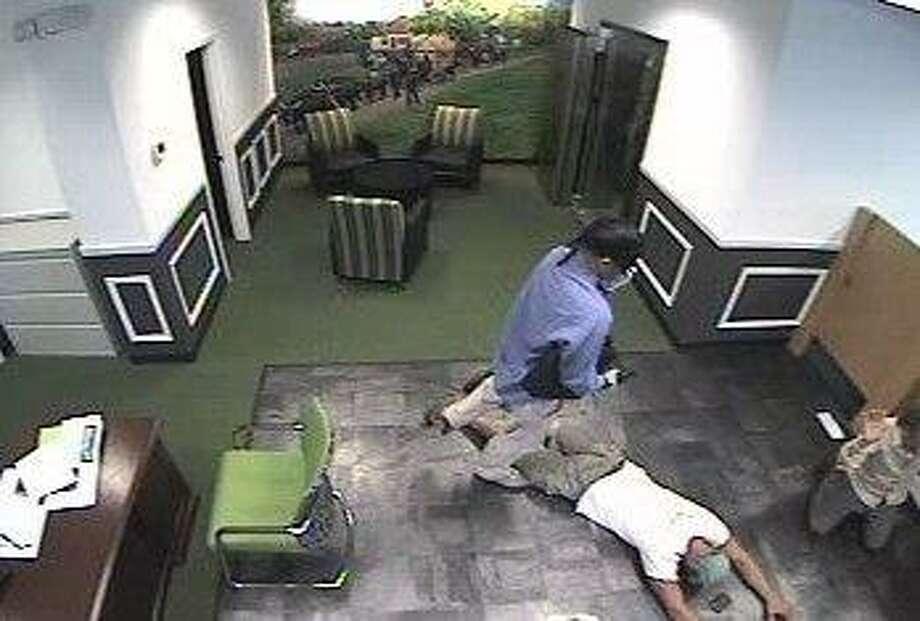 Surveillance photo of robbery.