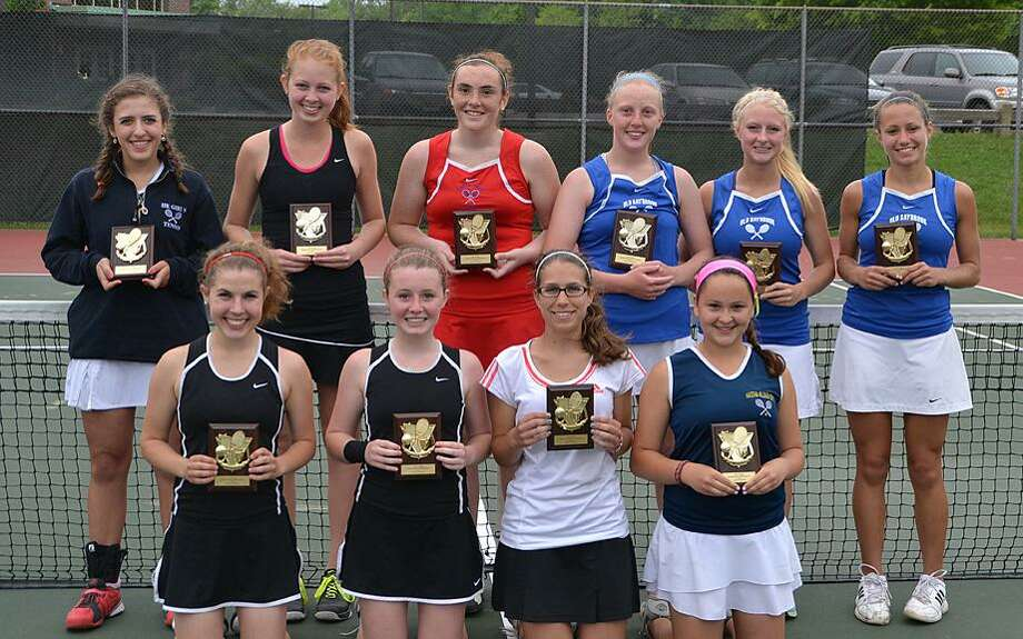 Submitted photo The All-Shoreline first team smiles with plaques Wednesday in Deep River