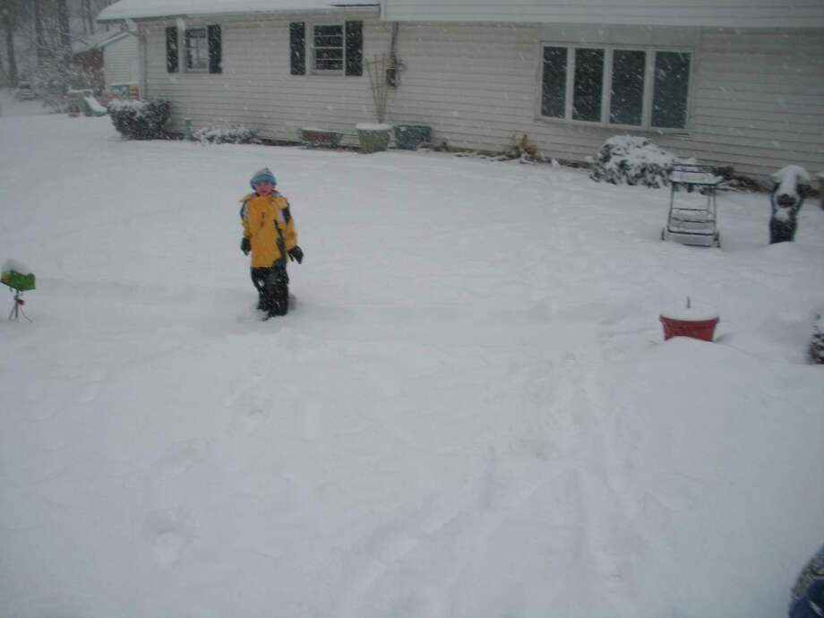 Scott Cimini of North Haven submitted this photo and reported 8.1 inches of snow as of 11:30 a.m.