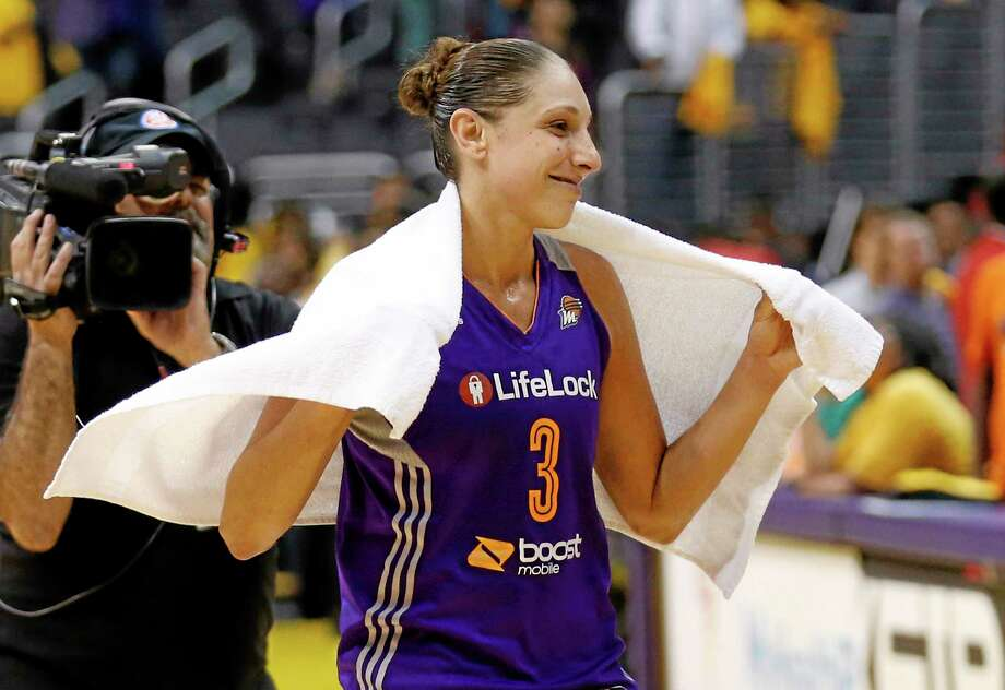 The Mercury's Diana Taurasi smiles after Phoenix defeated the Sparks in Game 1 of the WNBA Western Conference semifinals on Thursday in Los Angeles. Photo: Danny Moloshok — The Associated Press  / FR161655 AP