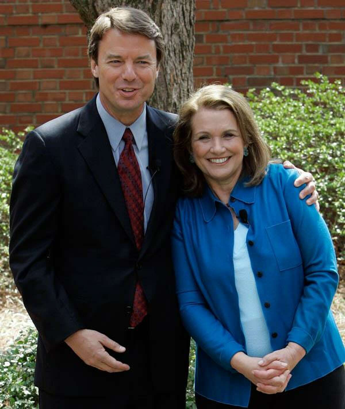 FILE - This March 22, 2007, file photo shows two-time presidential candidate John Edwards and his late wife, Elizabeth, during a news conference in Chapel Hill, N.C. Associated Press
