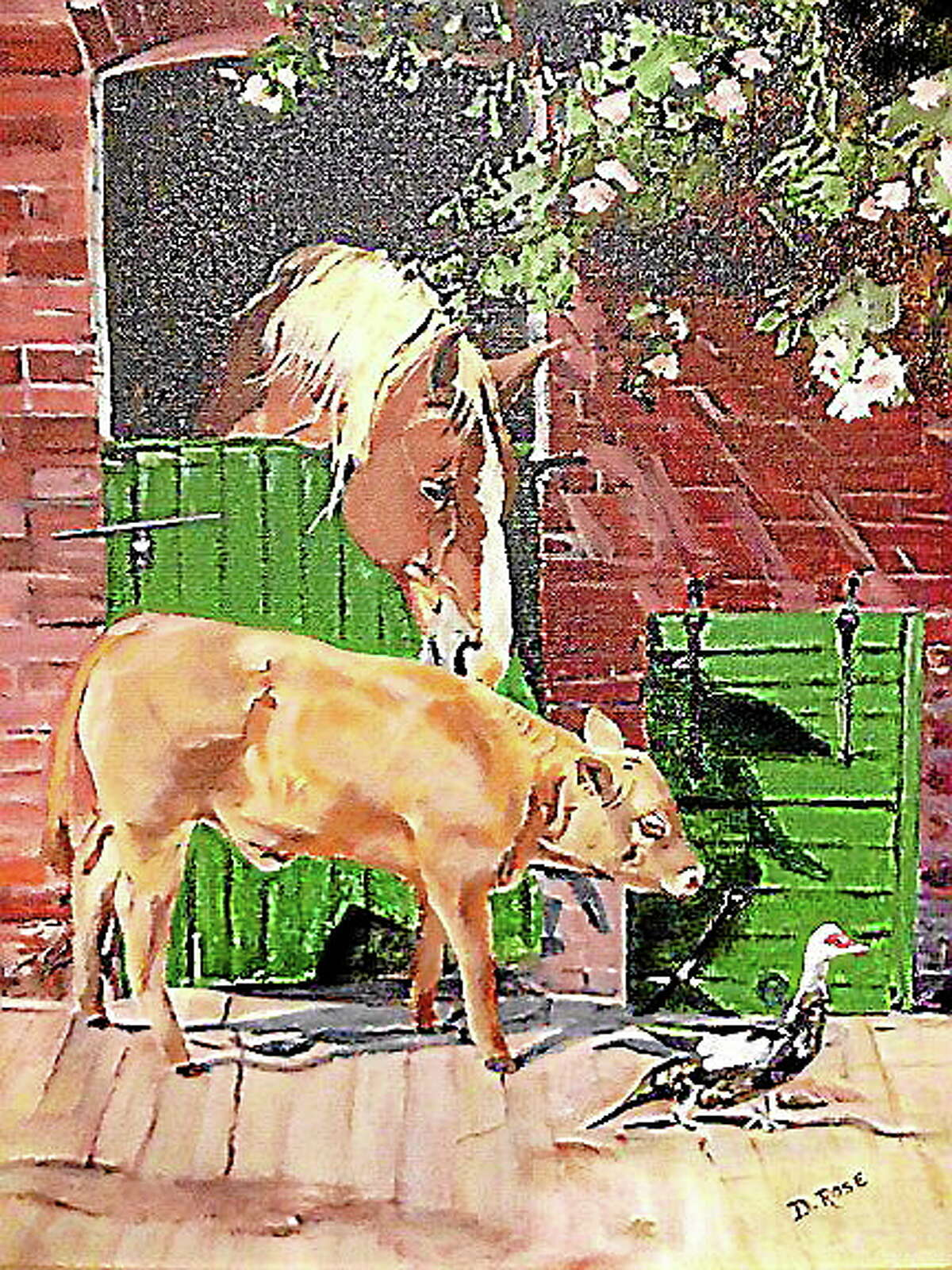 """Image courtesy of the artistDelores Rose's """"Farm Animals"""" from the recent art show."""