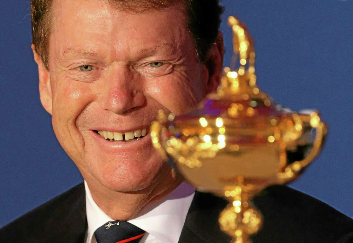 U.S. Ryder Cup captain Tom Watson smiles during a press conference to launch the Ryder Cup on Tuesday at The Gleneagles Hotel in Gleneagles, Scotland.