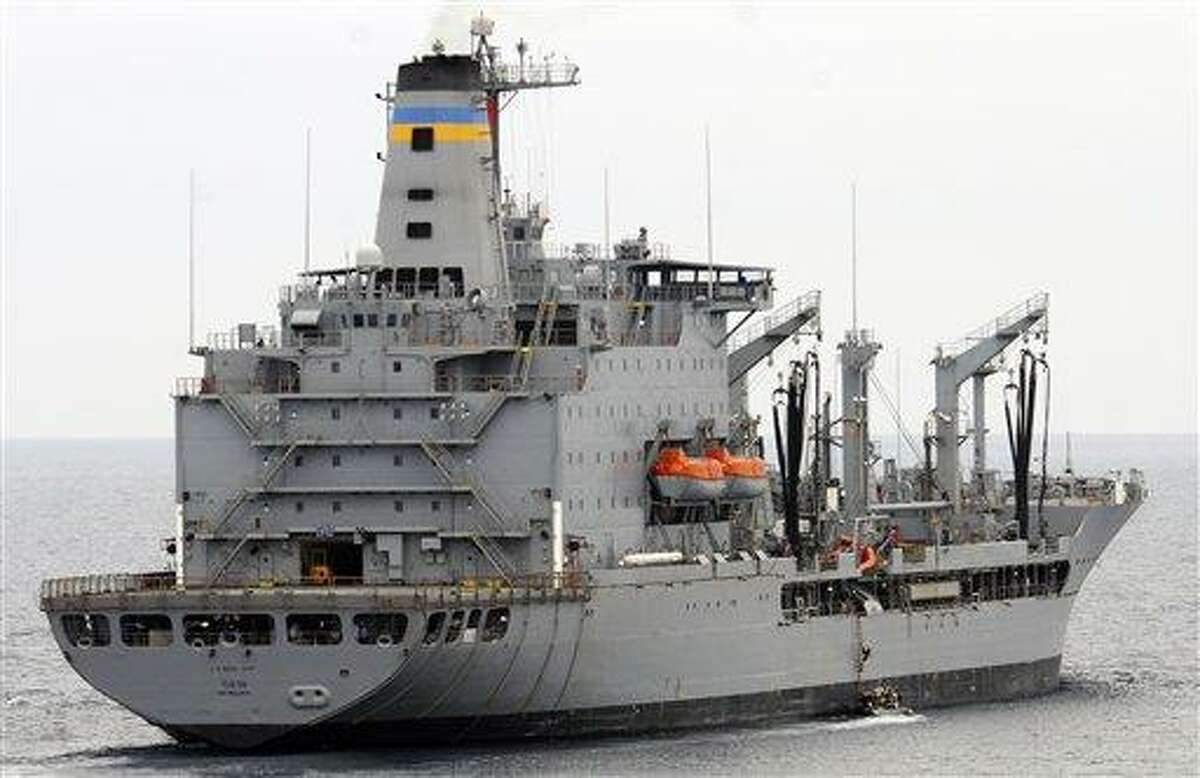 This image provided by the U.S. Navy shows the Military Sealift Command fleet replenishment oiler USNS Yukon underway in the Pacific Ocean. The USNS Yukon and an amphibious assault ship USS Essex collided Wednesday in the Pacific Ocean, but there were no injuries and no fuel spills, the 3rd Fleet said. Associated Press
