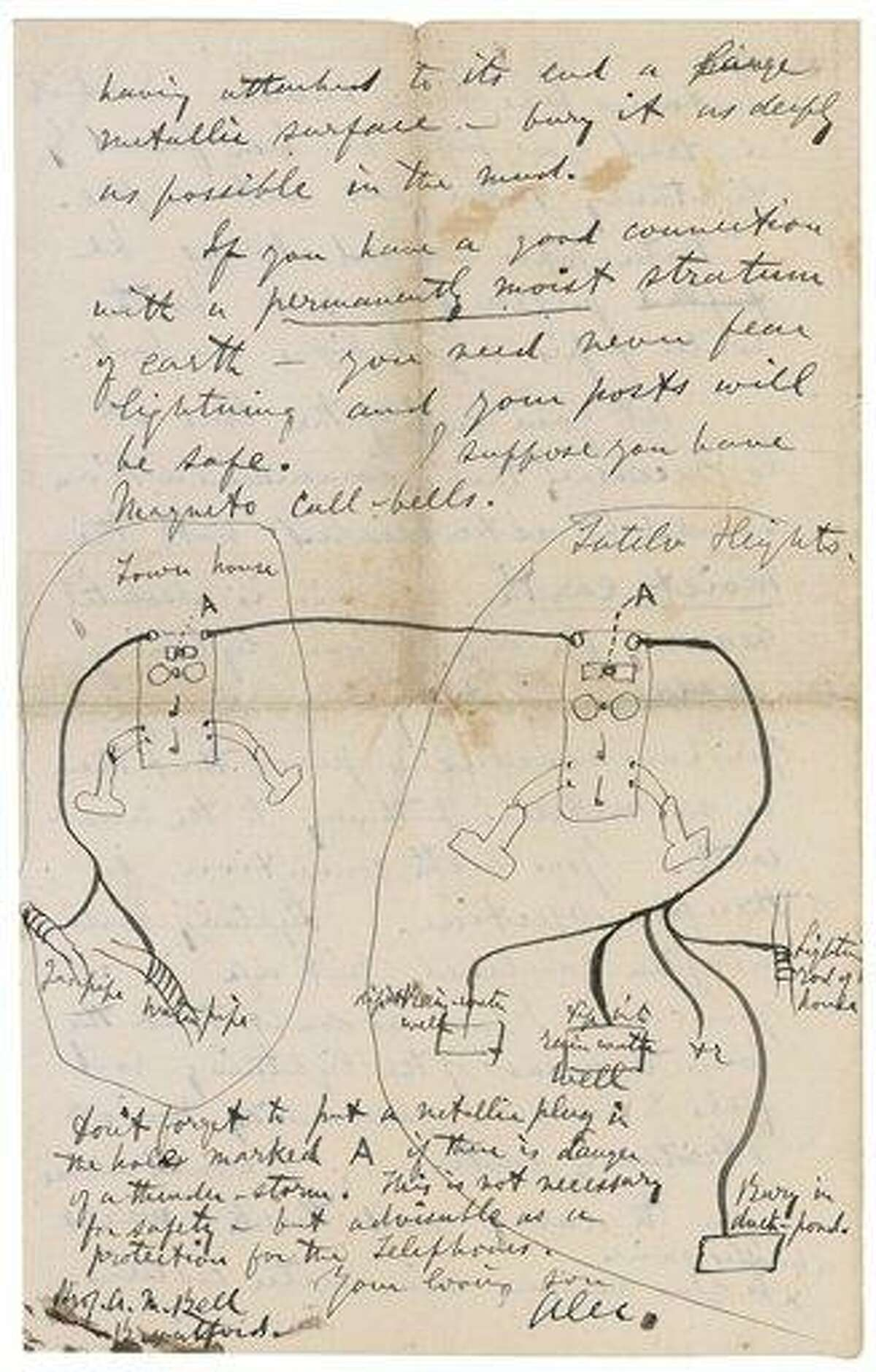 A page of an 1878 letter that Alexander Graham Bell sent to his parent. The drawing and accompanying discussion instructs how to ground the telephone Bell had invented. Associated Press