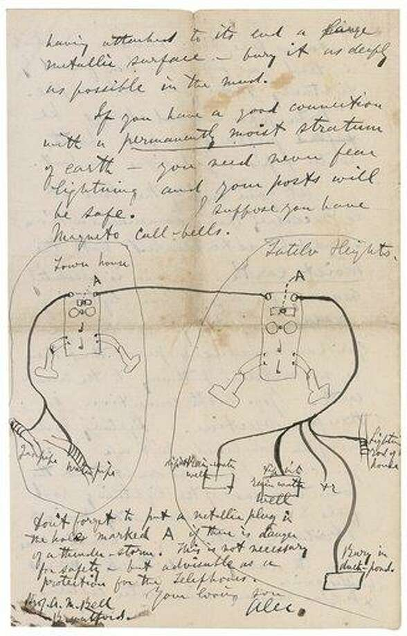 A page of an 1878 letter that Alexander Graham Bell sent to his parent. The drawing and accompanying discussion instructs how to ground the telephone Bell had invented. Associated Press Photo: AP / RRAuction