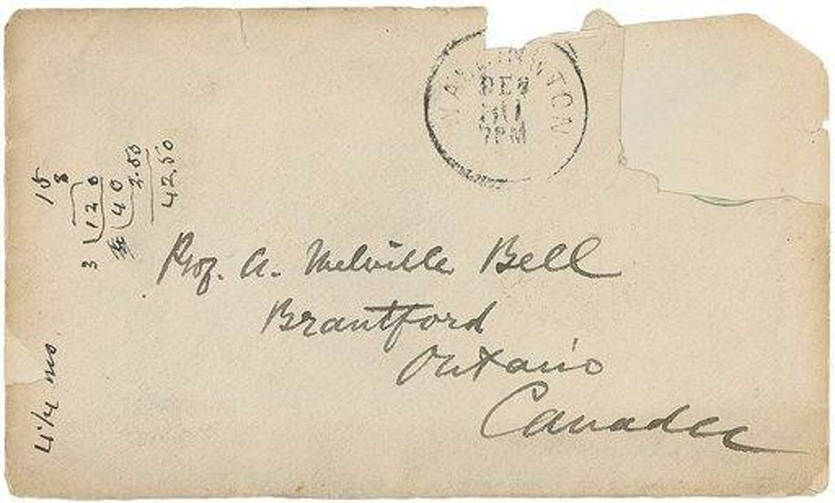 The front of an 1878 envelope Alexander Graham Bell sent to his parents. The letter contains a drawing and instructions how to ground the telephone Bell had invented. Associated Press