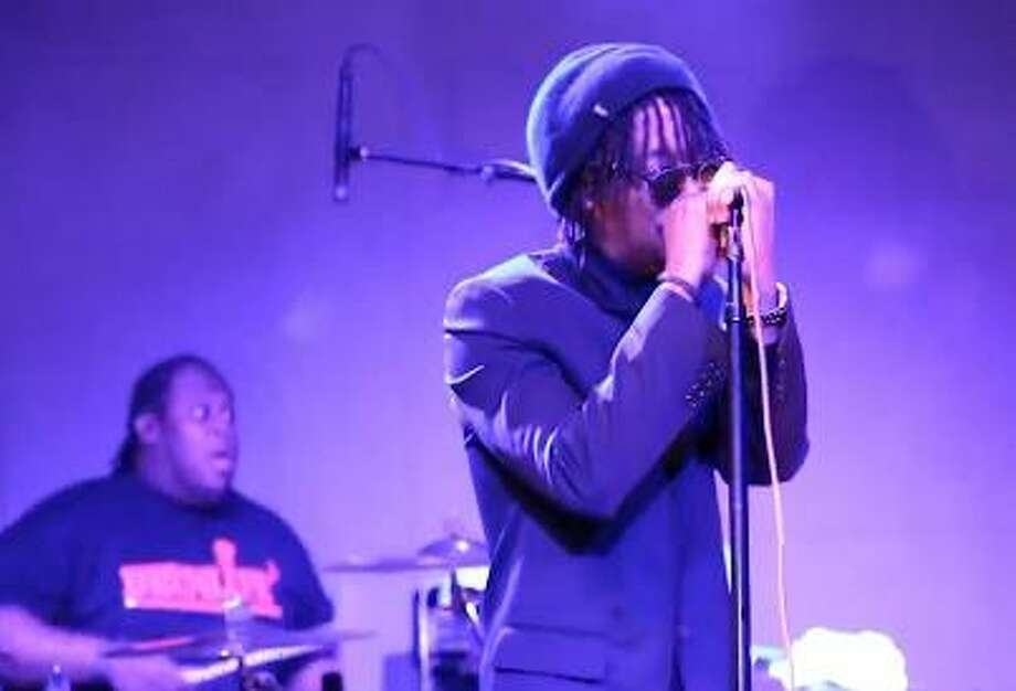 This screenshot is taken from video of rapper Lupe Fiasco during his performance Sunday at a pre-inauguration party.