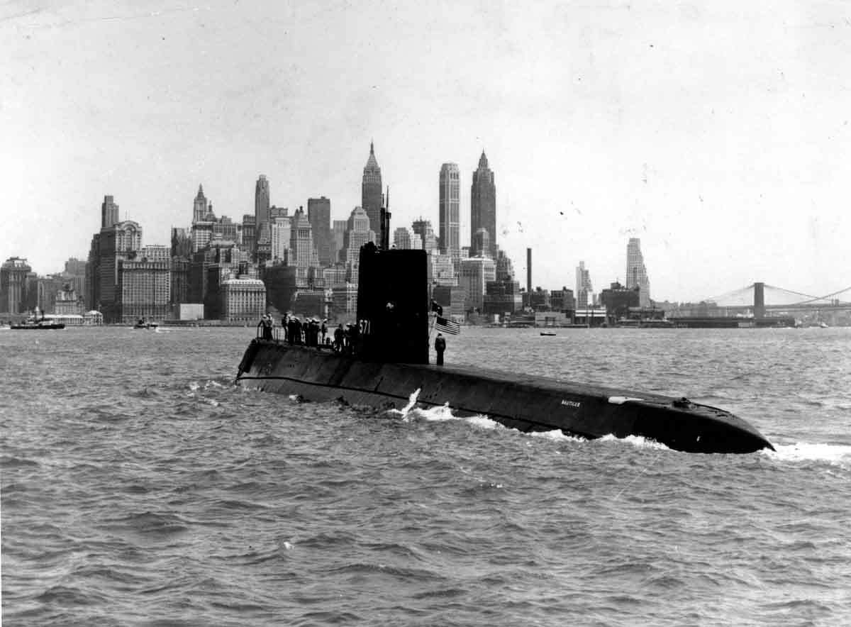 The world's first nuclear-powered submarine, USS Nautilus, in New York harbor in 1958. (AP Photo/U.A. Navy)
