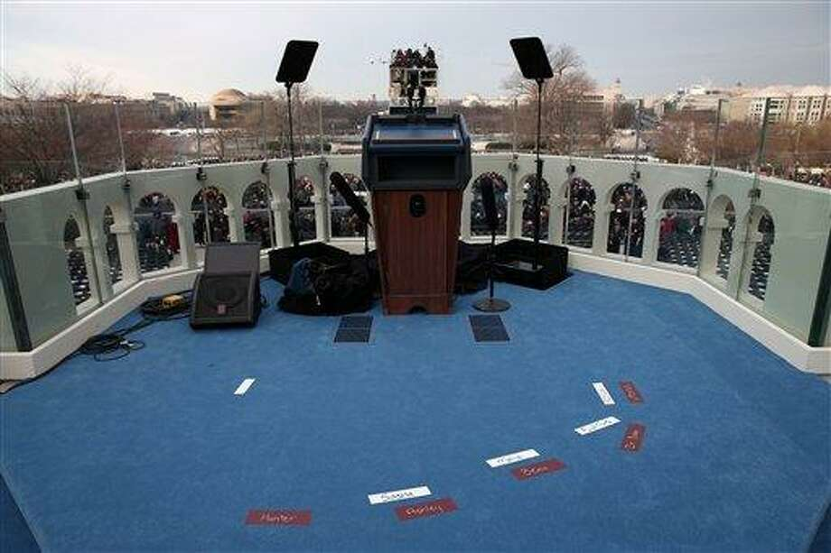 Placemarks are set on the West Front of the Capitol in Washington, Monday, Jan. 21, 2013, in preparation for the President Barack Obama's ceremonial swearing in during the 57th Presidential Inauguration.  (AP Photo/Win McNamee, Pool) Photo: AP / Pool Getty Images North America