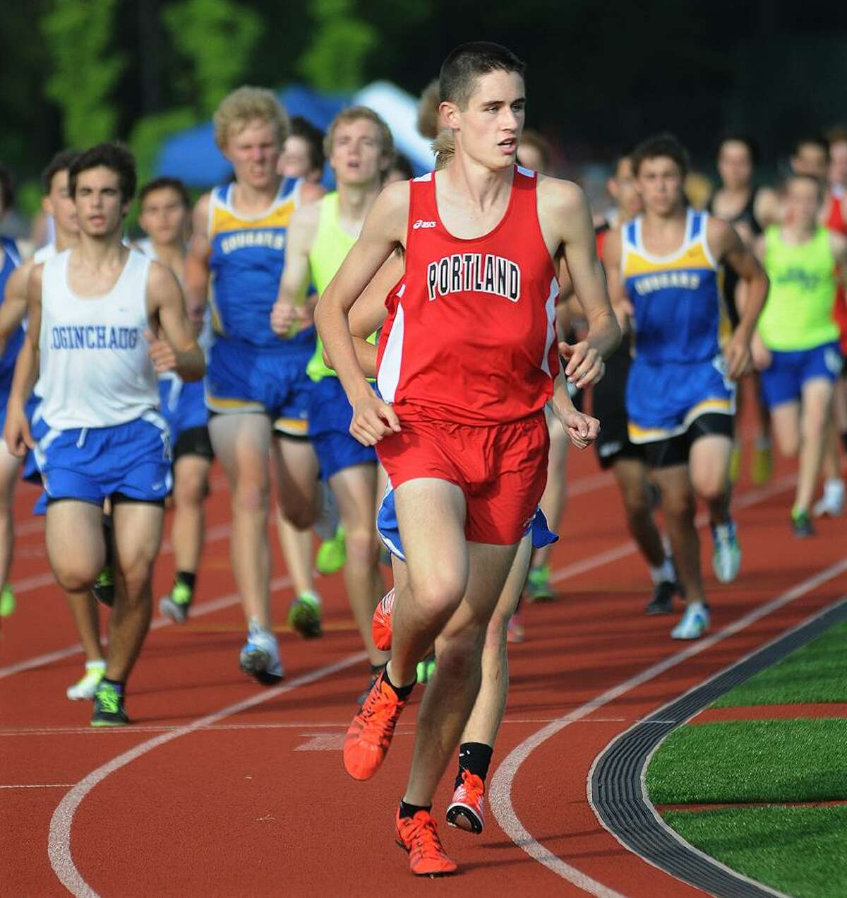 Catherine Avalone/The Middletown PressPortland senior Nick Blanchard won the 3200m at the Shoreline Conference Boys Outdoor Track & Field Championship Wednesday afternoon compete in the 800m at the Wally Camp Athletic Complex at Coginchaug High School in Durham.