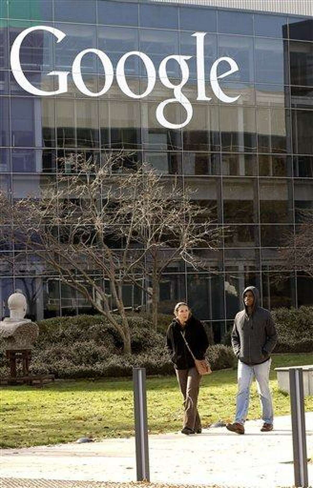 This Thursday, Jan. 3, 2013, photo shows a Google sign at the company's headquarters in Mountain View, Calif. (AP Photo/Marcio Jose Sanchez)