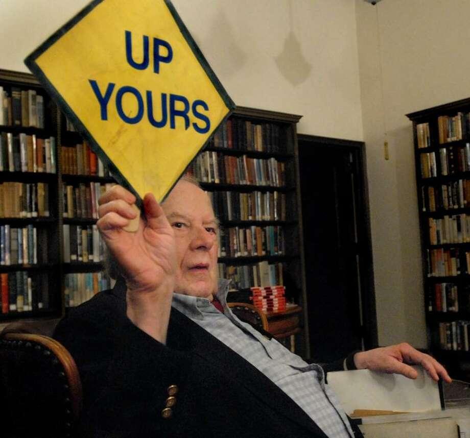 Alan Abel speaks at the Institute Library. Melanie Stengel/Register