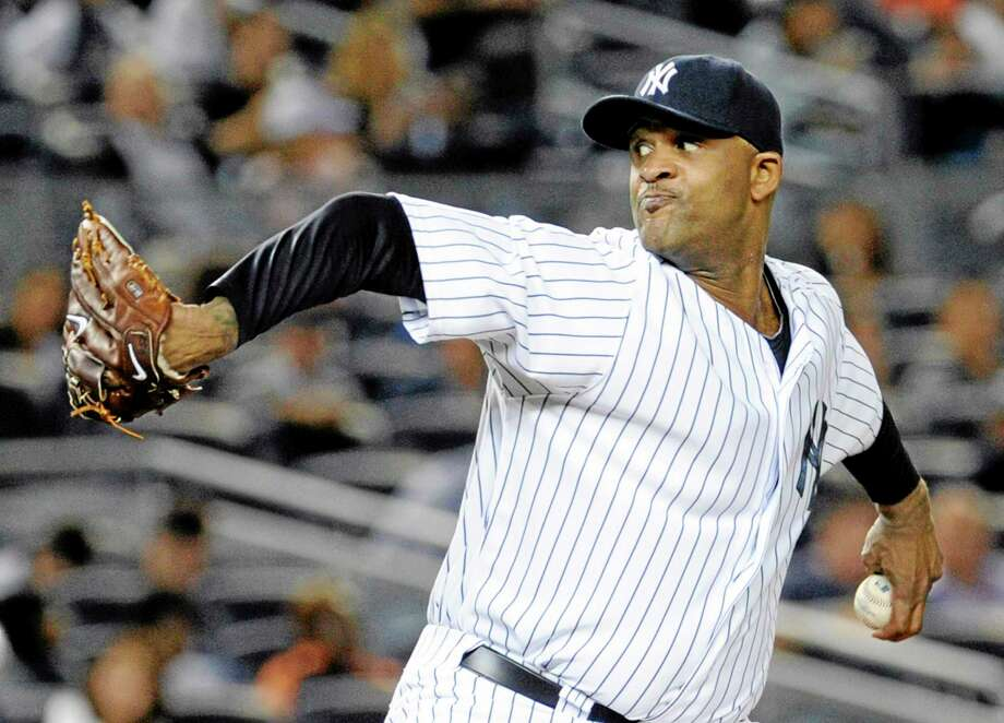 Yankee starting pitcher CC Sabathia will miss the remainder of the season with a strained left hamstring. Photo: Bill Kostroun — The Associated Press  / FR51951 AP