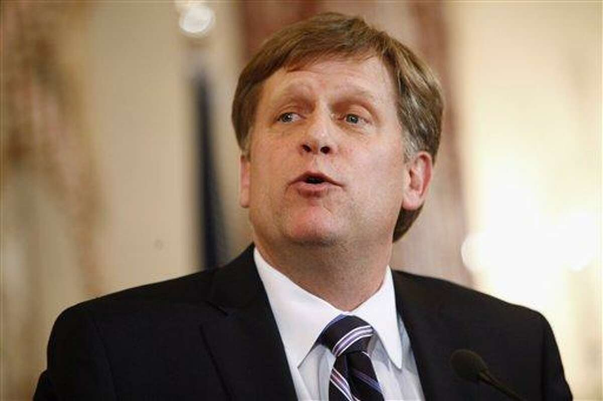 U.S. Ambassador-designate to Russia Michael McFaul speaks during his swearing-in ceremony Tuesday at the State Department in Washington. Associated Press