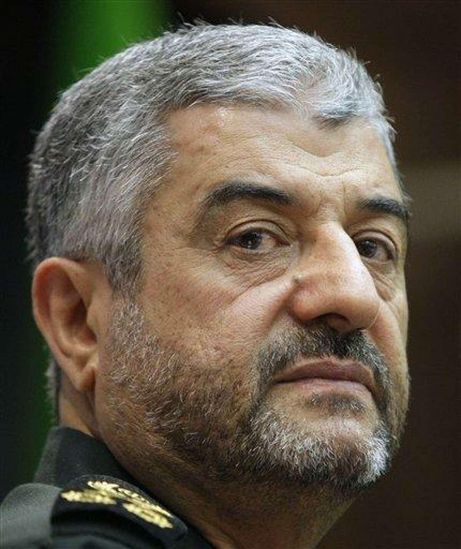 Commander of Iran's Revolutionary Guard Gen. Mohammad Ali Jafari, holds a press conference in Tehran, Iran, Sunday. The top commander in Iran's powerful Revolutionary Guard has warned that