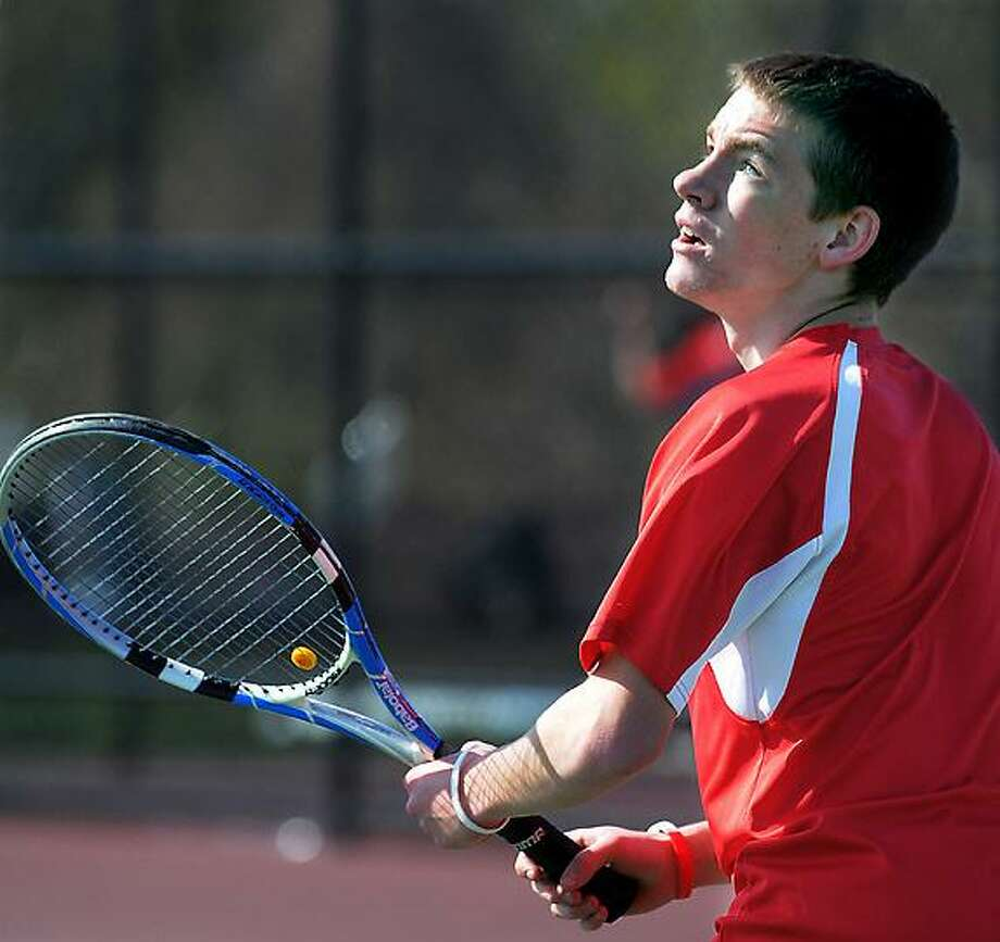 Catherine Avalone/The Middletown Press Portland senior Justin Danielewicz defeated Coginchaug's Tyler McDonald 6-0, 6-0 Monday afternoon in Portland. The Portland Highlanders defeated the Coginchaug Blue Devils 6-1. / TheMiddletownPress
