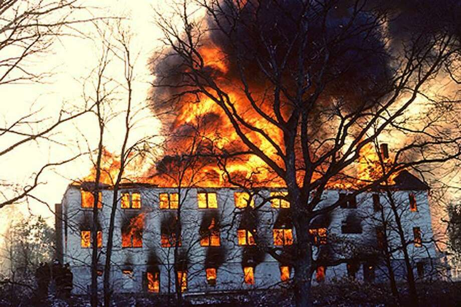 "In February 1984, Simsbury volunteer firefighters set fire to ""The Morehouse"" where King lived as a teenager, as part of a training exercise. Contributed photo"